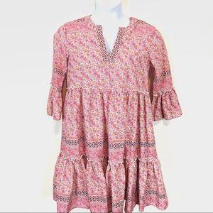 Eshakti Boho Teared Dress Pink, Yellow, White M-L
